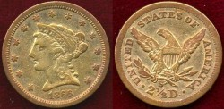 Us Coins - 1866-S  $2 1/2 GOLD  Liberty  VF