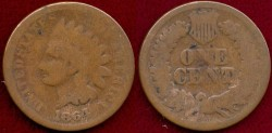 Us Coins - 1864-L INDIAN 1c ...  GOOD