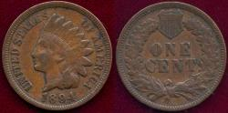 Us Coins - 1894 INDIAN 1c VF