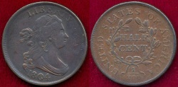 Us Coins - 1808 Cr.4, Stemless   HALF CENT  XF45