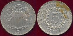 Us Coins - 1866 SHIELD NICKEL  XF .... sharp AU Reverse