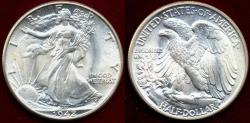 Us Coins - 1942 WALKING LIBERTY HALF DOL  MS65   BLAST WHITE!