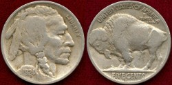 Us Coins - 1924-D 5c VF/ FINE