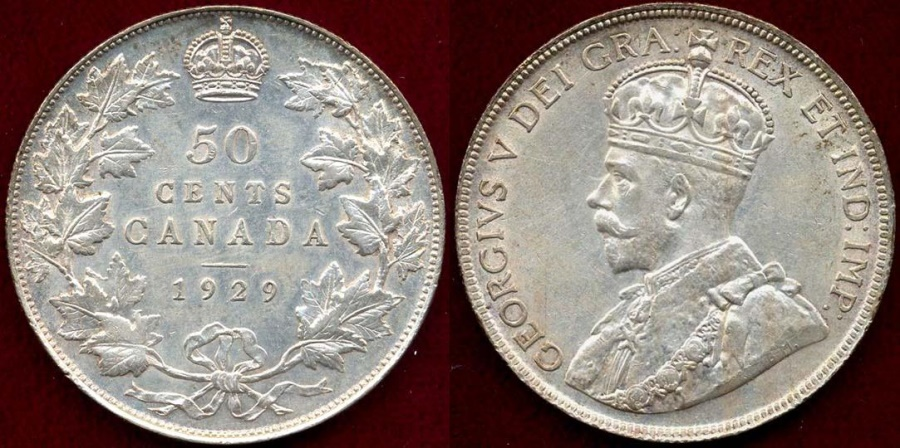 World Coins - CANADA 1929  50c Choice  AU