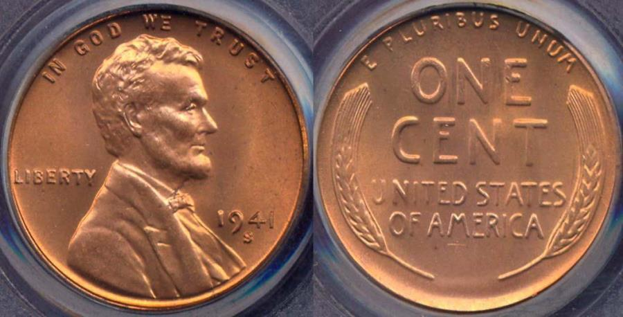 US Coins - 1941-S LINCOLN CENT MS66RD PCGS