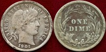 Us Coins - 1901-S  BARBER 10c  VERY FINE