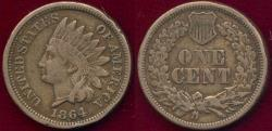 Us Coins - 1864CN INDIAN 1c VF