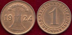 World Coins - GERMANY 1924-F..... RENTEN PFENNIG