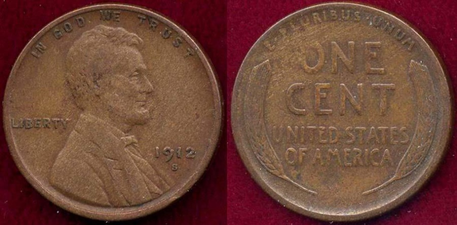 US Coins - 1912-S LINCOLN 1c  VF