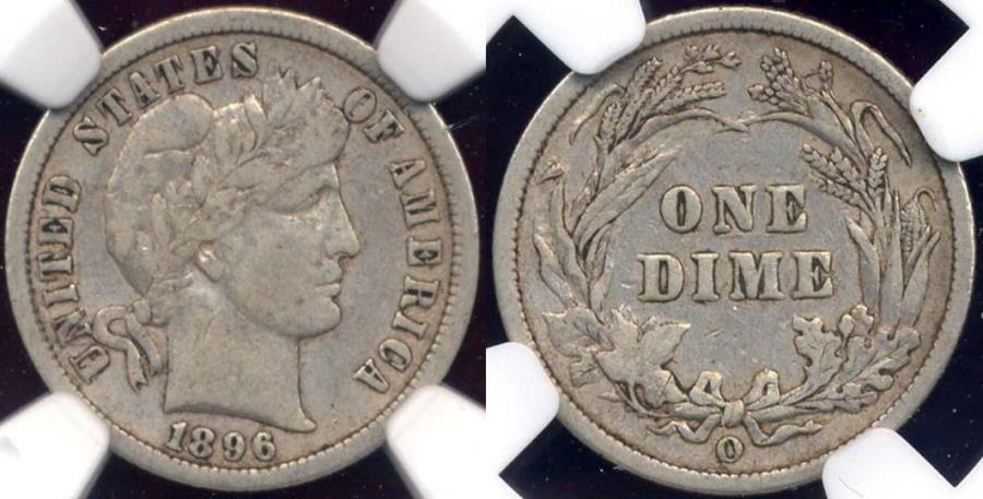 US Coins - 1896-O BARBER 10c  NGC F15