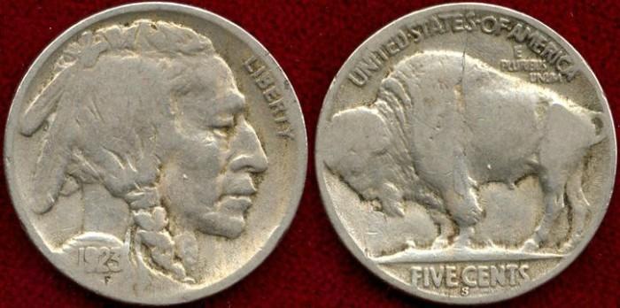 US Coins - 1923-S  5c  GOOD+