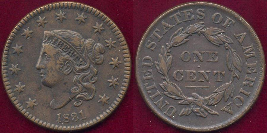 US Coins - 1831 LARGE LETTERS  CENT  XF