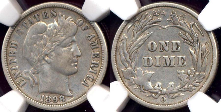 US Coins - 1898-O BARBER 10c  NGC VF35