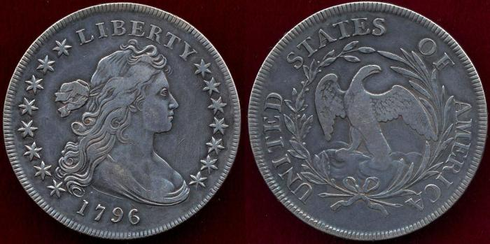 US Coins - 1796 Draped Bust $1..... EXTRA FINE