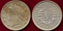 Us Coins - 1912 LIBERTY 5c  AU55