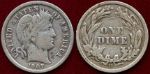 Us Coins - 1907-D BARBER 10c  VERY FINE