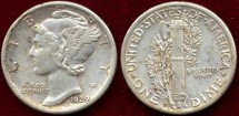 Us Coins - 1929-S  MERCURY 10c ..... about UNCIRCULATED