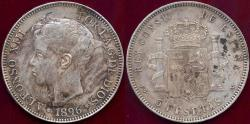 World Coins - SPAIN 1896  5 PESETAS  XF+  ALFONSO XIII