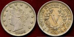 Us Coins - 1906 LIBERTY 5c .... AU50