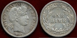Us Coins - 1907  BARBER 10c   XF