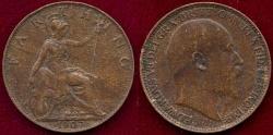 World Coins - GR.BRITAIN 1907 FARTHING  XF