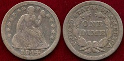 Us Coins - 1844 SEATED 10c  FINE  (Scarce date)