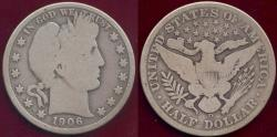 Us Coins - 1906-D  BARBER 50c  GOOD