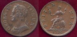 World Coins - GREAT BRITAIN 1754 GEORGE II  FARTHING  AU