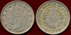 Us Coins - 1907 LIBERTY 5c  .....  about UNCIRCULATED
