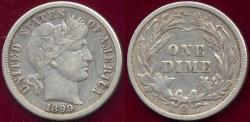 Us Coins - 1899-O BARBER DIME  VF30