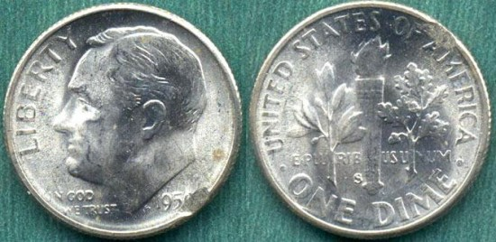 US Coins - 1951 10c   UNCIRCULATED ERROR