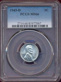 US Coins - 1943-D LINCOLN CENT  MS66  PCGS