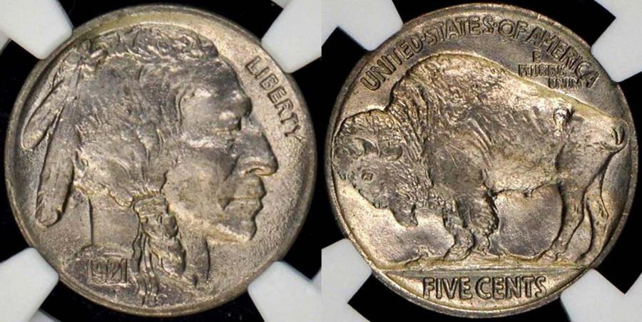 US Coins - 1921 BUFFALO 5c  NGC MS64    .. Good Eye Appeal