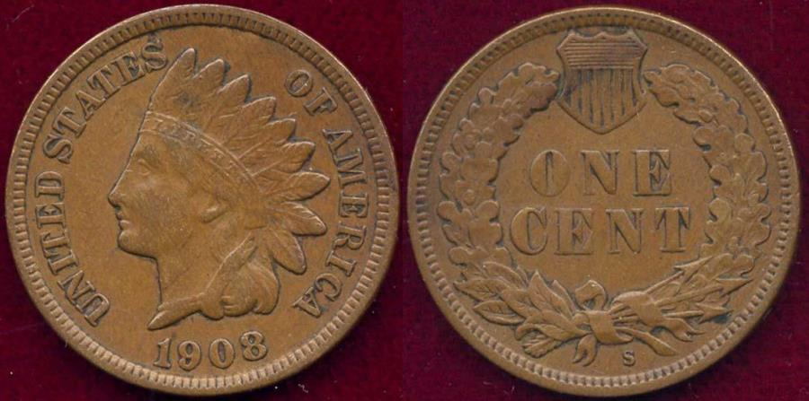 US Coins - 1908-S INDIAN 1c XF40