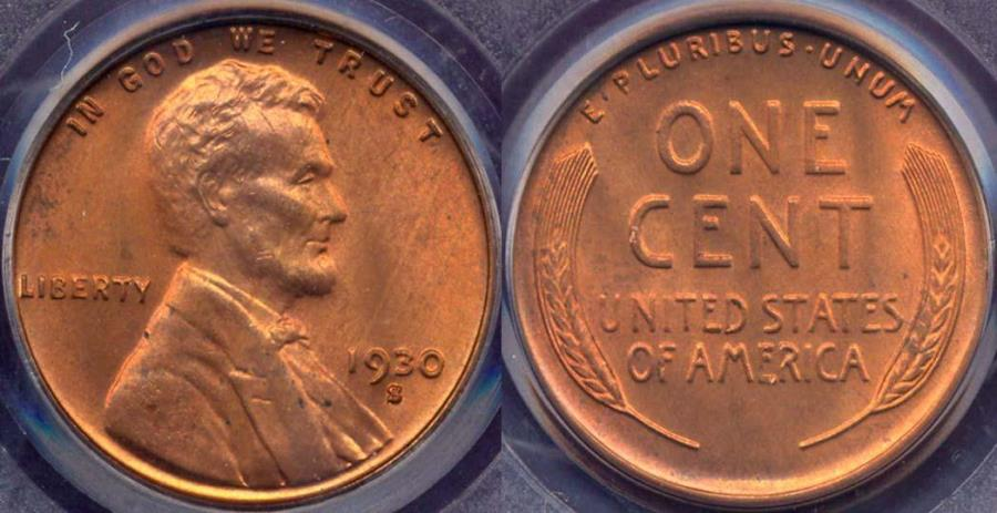 US Coins - 1930-S LINCOLN 1c PCGS MS65 RD .... SHARP STRIKE