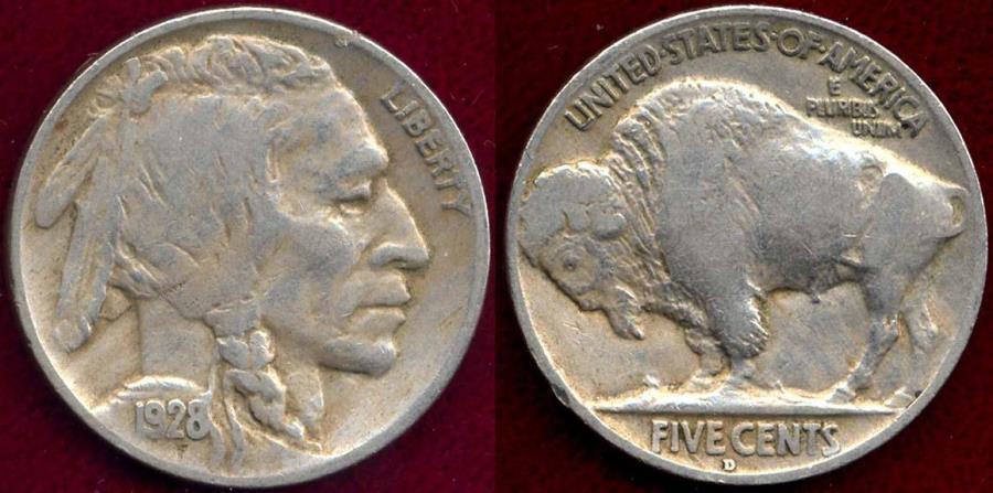 US Coins - 1928-D BUFFALO 5c  VF30
