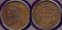 Us Coins - 1834 Classic 1/2c......  PCGS  AU50