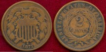 Us Coins - 1871  2c ....  Choice VERY GOOD