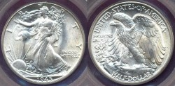 Us Coins - 1945 WALKING LIBERTY 50c     PCGS  MS65