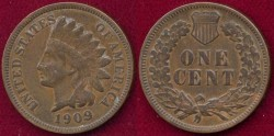 Us Coins - 1909  INDIAN 1c   FINE