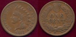 Us Coins - 1875 INDIAN 1c VF25