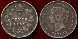 World Coins - CANADA 1901  SILVER 5c ...  XF