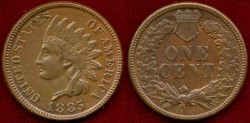 Us Coins - 1885 INDIAN 1c ..... CHOICE UNCIRCULATED
