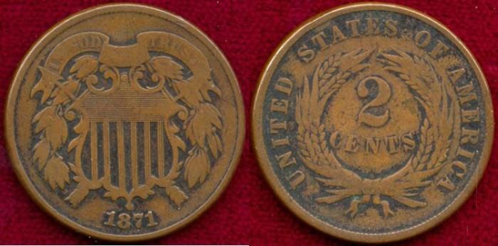 US Coins - 1871  2c ....  Choice VERY GOOD