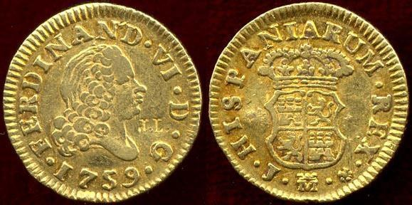 World Coins - SPAIN 1759  GOLD 1/2 ESCUDO  XF .... COUNTER STAMP