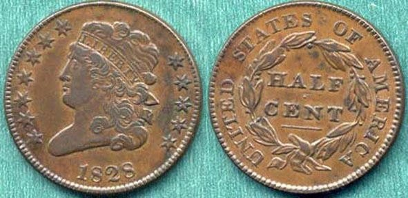 US Coins - 1828 Classic Style  1/2c ......12 stars