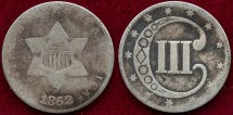 Us Coins - 1852  SILVER 3c  GOOD