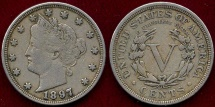 Us Coins - 1897 LIBERTY 5c  VF30