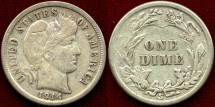 Us Coins - 1914-S  BARBER 10c.... Choice VERY FINE