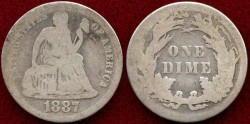 Us Coins - 1887 seated  10c ...... GOOD